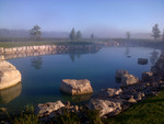 Beautiful pond at the back of the Two Sisters Vineyards vinery is neibhouring our property